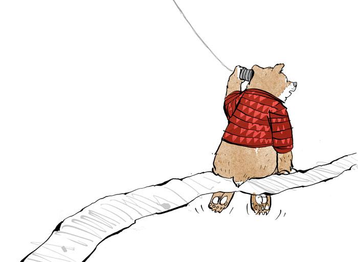 """Der Bär telefoniert - Illustration von Andreas Klammt zum Buch """"Weil Du mir so fehlst"""" von Ayse Bosse"""