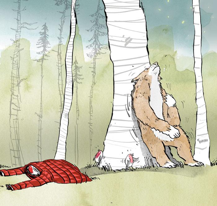 """Bär kratzt sich den Rücken - llustration von Andreas Klammt zum Buch """"Weil Du mir so fehlst"""" von Ayse Bosse"""