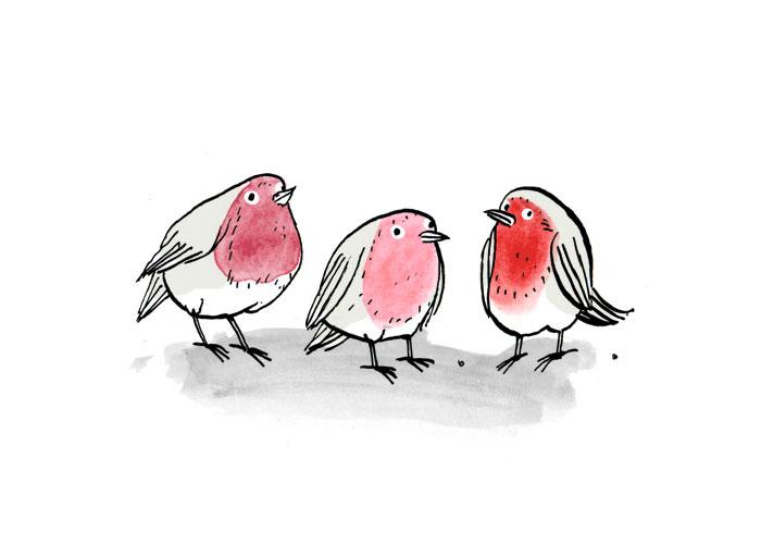 """Drei Vögel - Illustration von Andreas Klammt zum Buch """"Weil Du mir so fehlst"""" von Ayse Bosse"""